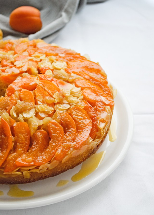 Apricot-almond upside-down cake