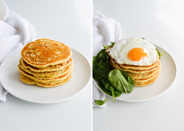 Savory pancakes wirh fried egg and spinach - perfect vegetarian breakfast.