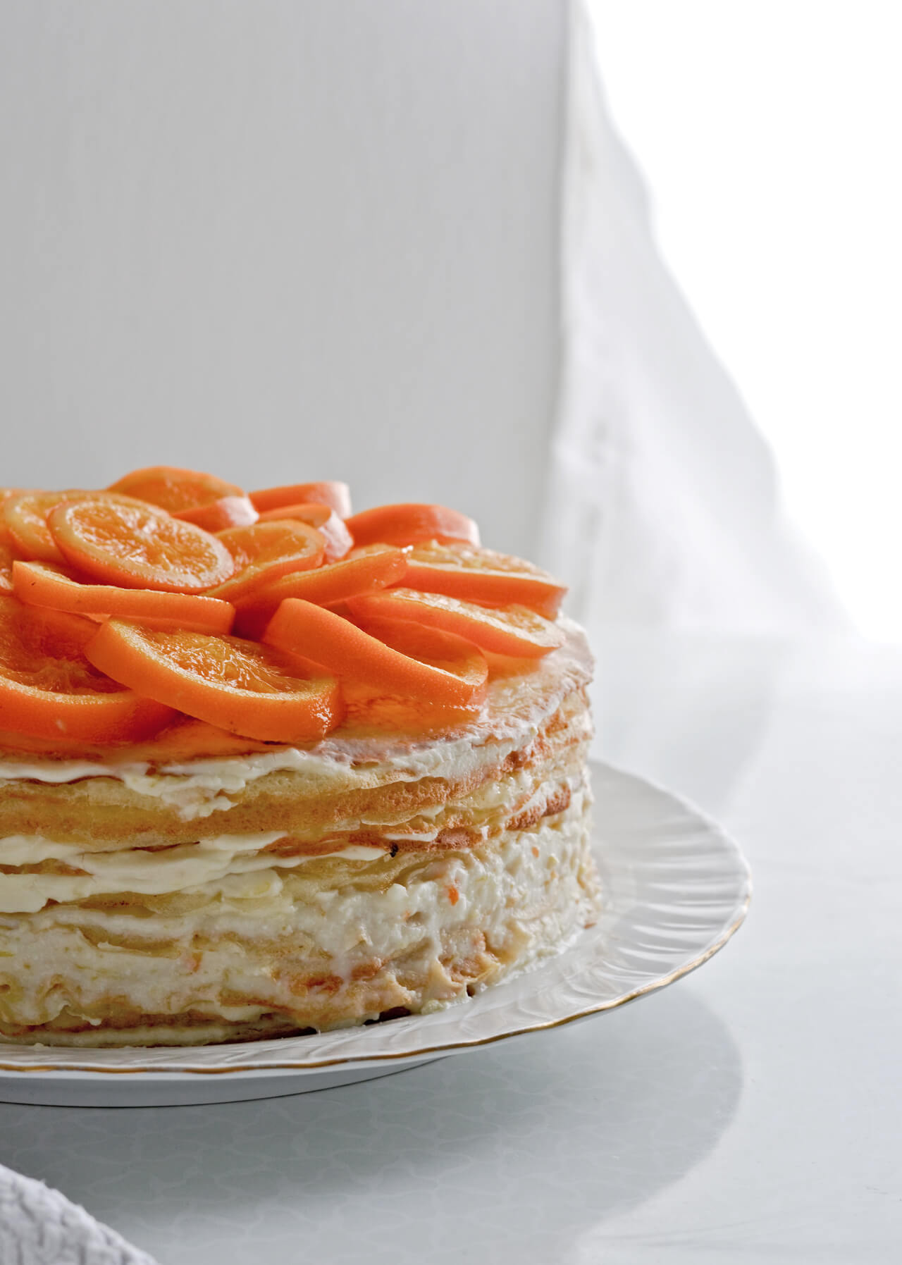 orange ricotta crepe cake + candied orange slices