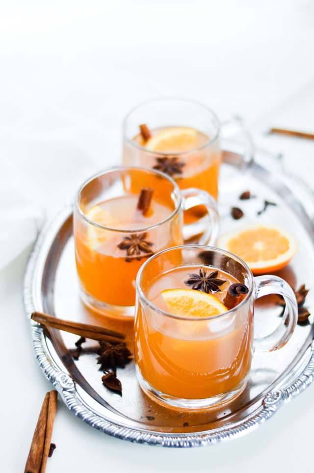 A tasty Winter drink, a favorite all over Europe - mulled white wine with orange juice and spices. You need it.