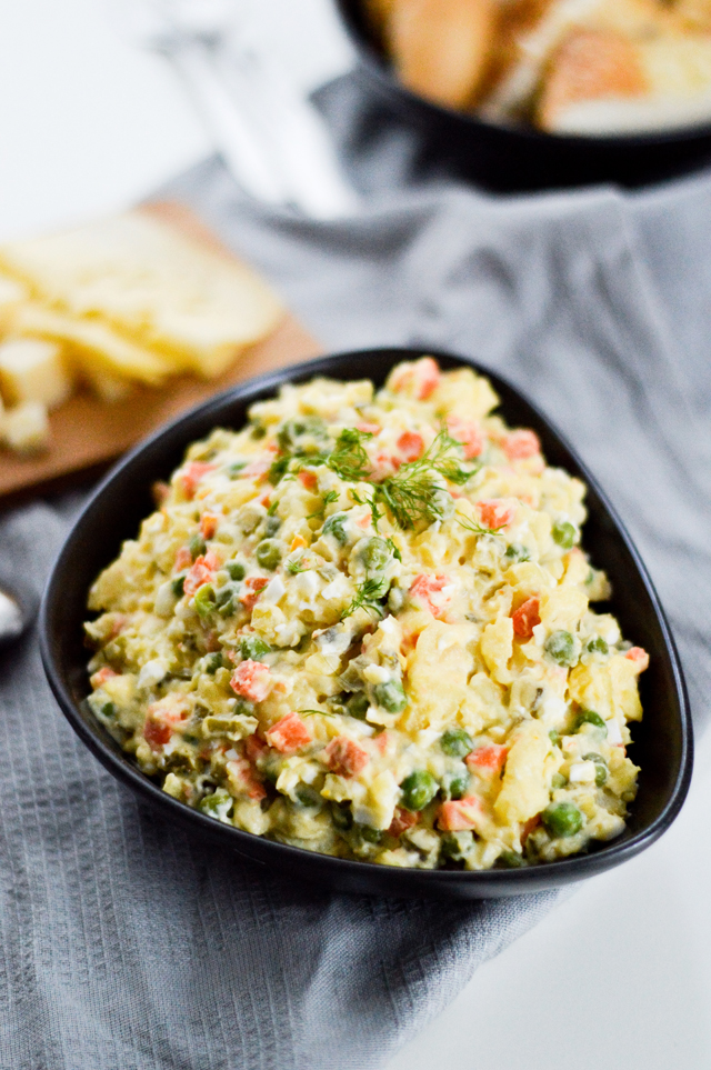 Vegetarian salad olivier - a russian potato salad perfect for the holidays or BBQ.